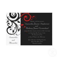 Black/White/Red Reverse Swirl Wedding Invitations invitation