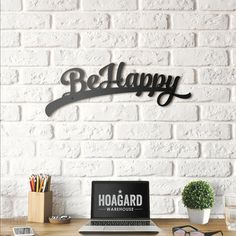 Be Happy Metal Wall Art DESIGNED BY HOAGARD Being happy never goes out of style! Inspire yourself and your guests with positive metal wall arts. Modern & Industrial Style Matte Black Paint 2 mm thick metal (W) x (H) - Metal Wall Decor, Metal Wall Art, Wood Art, Wall Art Decor, Brick Cafe, Mirror Wall Clock, Metal Screen, Red Bricks, Master Bedroom Design