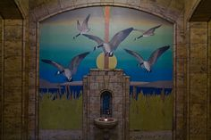 Fountain and geese mural, Colorado Telephone Company Building, Denver, Colorado. IMG_7047 LR Edit by StevenC_in_NYC, via Flickr