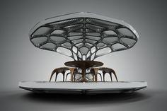 zaha hadid volu dining pavilion design miami art week revolution patrik schumacher designboom