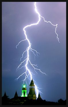 Cool photo by a Baylor grad of Pat Neff during a Texas lightning storm.