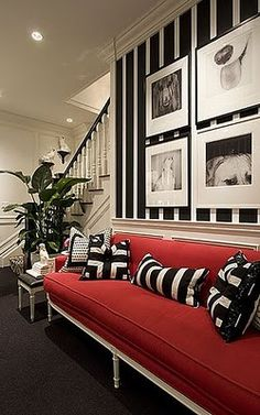 Black and White Stripe Wallpaper w red couch