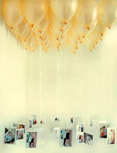 Decoracion con Globos hermosa, para poner tu fotos del recuerdo.