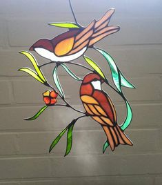 Stained glass suncatcher, glass window decoration of a bird, sparrows in Tiffany, window hanger, window art piece with vibrant colors. Stained Glass Mosaic, Glass Painting, Glass Birds, Stained Glass Birds, Glass Art