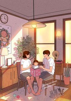 Cute Couple Comics, Cute Couple Art, Anime Love Couple, Sweet Drawings, Couple Drawings, Aesthetic Anime, Aesthetic Art, Family Illustration, Illustration Art