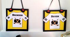 Hockey door hanger sign on their lockers or hotel room doors before games!