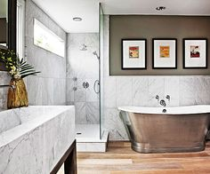 The rain-cloud gray found in this bathroom's marble is a must-see!