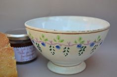 Antique Vintage French Cafe au lait Bowl Grapes V