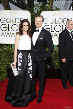 Colin Firth et sa femme Livia Giuggioli - La 72e cérémonie annuelle des Golden Globe Awards à Beverly Hills, le 11 janvier 2015