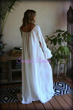 100% Cotton Nightgown Long Sleeve Jane Austen Full Sweep Lingerie Sleepwear  Ivory Nightgown Cotton Lingerie 362d52317