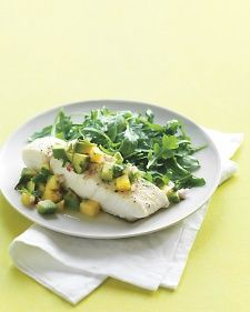 Halibut with Avocado-Pineapple Salsa - Don't feel like fish? This bright and chunky salsa of pineapples, jalapenos, cilantro, and lime juice will also perk up chicken or pork.