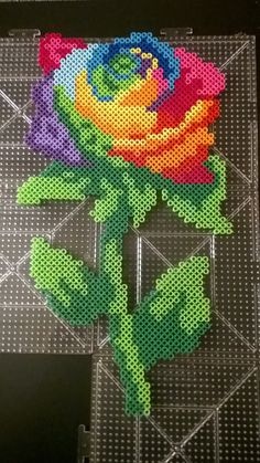 Rainbow rose flower perler beads by Supernaturally