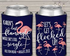 flamingo bachelorette party / bachelor party can coolers, can coolies for bachelorette parties flamingle while she's still single MCC-003