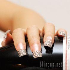 Rhinestone nail tips