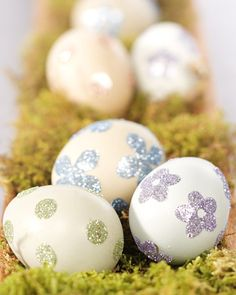 Glittered Sticker Eggs These beautifully glittered Easter eggs are a sparkling alternative to coloring them with dyes.