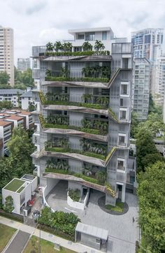 Residencial The Olive by W Architects. Architecture Durable, Architecture Résidentielle, Futuristic Architecture, Sustainable Architecture, Amazing Architecture, Condominium Architecture, Building Facade, Green Building, Building Design