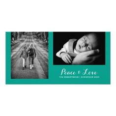 Peace & Love - Christmas Wishes Photo - Teal v2 Photo Cards