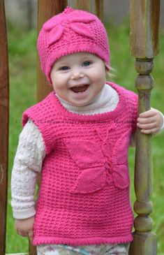 Knitting Pattern for Lady Butterfly Hat and Vest for Babies and Children - The hat pattern is written for seven sizes: months, months, months; years and years. The vest pattern sizes are months; Baby Hats Knitting, Baby Knitting Patterns, Free Knitting, Stitch Patterns, Knitted Hats, Sewing Patterns, Crochet For Kids, Knit Crochet, Crochet Hats