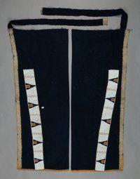 A PAIR OF SIOUX BEADED CLOTH LEGGINGS c. 1890