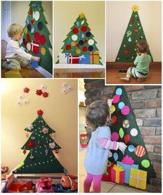 """Arbol de navidad de fieltro para jugar a """"decorar el árbol"""""""