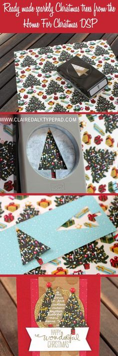 Ready Made Sparkly Christmas Trees from the Stampin' Up! Home for Christmas DSP