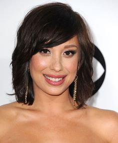 """27 Great Medium-Length Hairstyles-Cheryl Burke  """"This length is very soft, so it works on most face shapes,"""" says Hill. """"If your face is narrow or you have a widows peak, go for a side part to soften and enhance your features."""""""