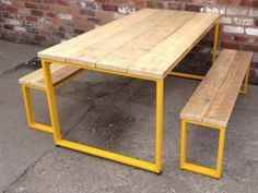 nice U-BAR DINING Table with yellow frame - Industrial Style - Matching Benches Available - Reclaimed scaffold Wood - Steel Frame Diy Outdoor Table, Diy Outdoor Furniture, Furniture Projects, Diy Furniture, Furniture Design, Outdoor Dining, Outdoor Bars, Furniture Stores, Steel Furniture
