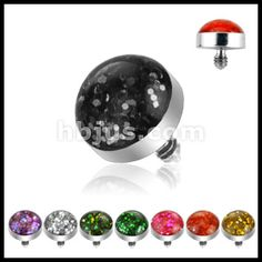 SAS08::316L Surgical Steel Internally Threaded 4mm Glitter Dome Dermal Top