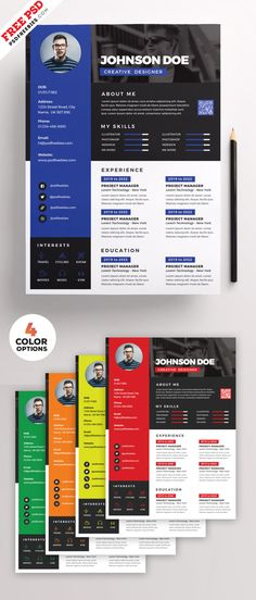 Free Awesome Resume CV Design PSD Bundle are easy to use and customize, so you can quickly tailor-make your job resume for any opportunity and help you land Creative Cv Template, Cv Resume Template, Resume Design Template, Creative Resume, Resume Cv, Creative Cv Design, Unique Resume, Web Design, Design Ideas
