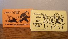 Vintage Monopoly Game Pieces Chance Community Chest Cards FREE SHIPPING