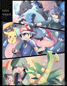 Ash Ketchum, Sawyer and Alain ♡ Kudos to whoever made this fan art