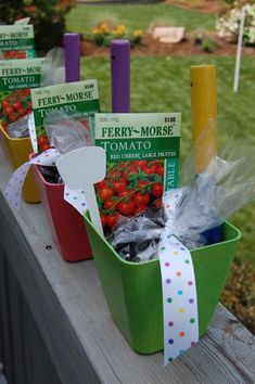 What a great idea for a candy-free party favor! Would be cute for a little girls garden party (do individual dirt cakes) and have these for favors. Garden Party Favors, Kid Party Favors, Party Bags, Party Gifts, Candy Party, Candy Favors, Garden Birthday, Birthday Fun, Birthday Parties