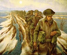 Alex Colville Canada - ) Infantry, near Nijmegen, Holland, 1946 Oil on canvas x cm. Beaverbrook Collection of War Art; CWM © Canadian War Museum Lent by: Canadian War Museum, Ottawa. Alex Colville, Canadian Painters, Canadian Artists, 24. August, Toronto, Canadian Soldiers, Canadian Army, Magic Realism, Remembrance Day