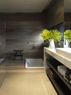 Very zen bathroom. Recessed soaker tub, paneled walls, slab counter w/ shelves