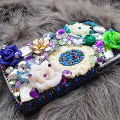 Custom iphone 5 rhinestone case in Peacock is by DemiGoddessCo