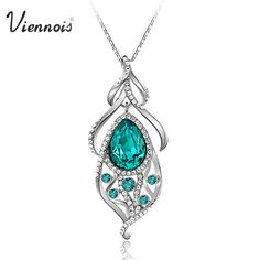 Viennois 18K White Gold GP Blue Swarovski Crystal Peacock Necklace Chain VN193