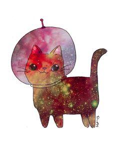 Galaxy Cat Illustration Space Kitty Cute Kawaii by BraveMoonman, $19.00