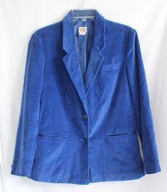 Corduroy Blazer Womens Sz 12 Picket and Post Cobalt Blue Lined  #PicketandPost #Blazer