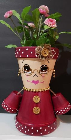 Flower Pot Art, Clay Flower Pots, Flower Pot Crafts, Clay Pot Projects, Clay Pot Crafts, Crafts To Do, Flower Pot People, Clay Pot People, Painted Clay Pots