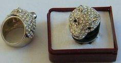 anello con testa di leone e strass mis.19 e 17