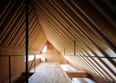 Nord house by Apollo Architects boasts a spacious loft room for children to play in (Dezeen) Religious Architecture, Architecture Details, Interior Architecture, Interior Design, Japanese Architecture, Roof Shapes, Exposed Rafters, Loft Room, Wooden Pergola