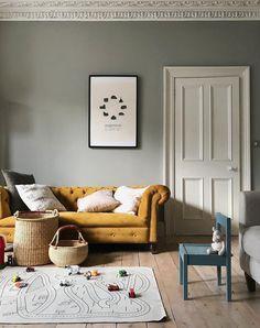 Grey living room with yellow sofa via Farrow And Ball Living Room, Living Room Paint, Living Room Sofa, Living Room Interior, Home Living Room, Living Room Decor, Farrow Ball, Farrow And Ball Paint, Hallway Colours