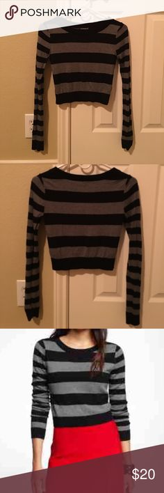 NWOT EXPRESS cropped sweater Crew neck sweater in black and grey stripes Express Sweaters Crew & Scoop Necks