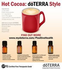 This delicious chocolate treat is something that will trick your taste buds into thinking you are drinking something a lot more indulgent than what you really are. Order these and other therapeutic grade essential oils at www.mydoterra.com/PositiveHealth