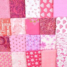 A pack of 20 fat quarters featuring pinks in assorted patterns  Buy this Stash Builder at its special price through 2/6 and get Free Shipping!  Limited quantities are available Fat Quarters, Packing, Free Shipping, Patterns, Fabric, Pink, Bag Packaging, Block Prints, Tejido