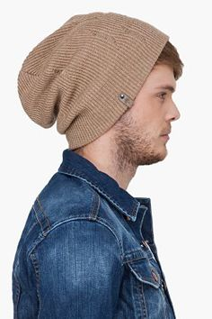 Fancy - Mackage Beige Wool Taz Beanie for Men  f1239a2dc9a