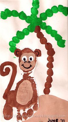 Foot print monkey-    Make a brown footprint (any color).      Make a thumbprint ear on each side of the heel.      Paint on a tail. Ours got kind of squished since I was trying to fit it on a tiny piece of paper.      Paint on a tan (any color) tummy and face.      Make fingerprint eyes using white paint.      Draw or paint on facial features.