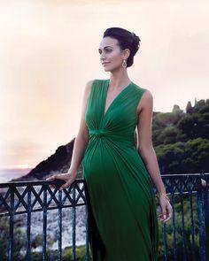 Seraphine Jo - Abito Elegante Premaman - Verde Smeraldo - (perfetto anche da  cerimonia) beaecf0c887