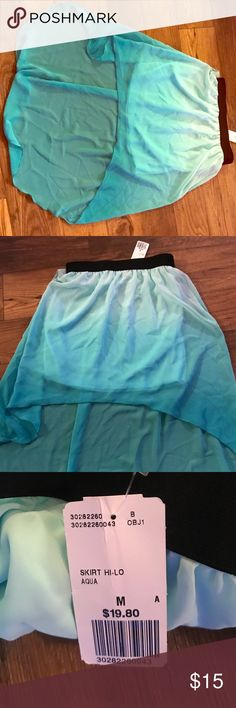 High low ombré skirt from forever 21 Pretty high low teal ombré skirt with black waistband in size medium. Forever 21 Skirts High Low