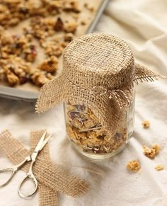 Cranberry Coconut Granola. So easy to make and a little piece of burlap or lace decorates it perfectly.